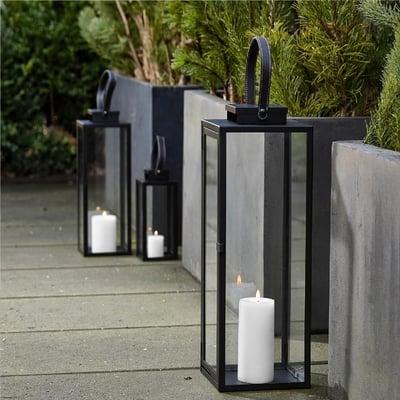 Lanterne med rem, sort - 50 cm