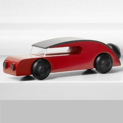Automobil Malet Bøgetræ, rød - 13 cm.