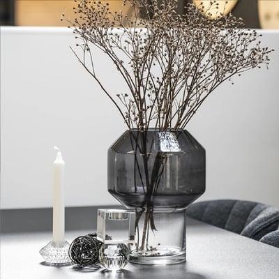 Vase i smoke glas, 26 cm