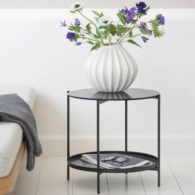 Tristan bakkebord sort med glasplade Ø44 cm