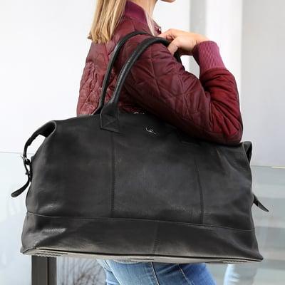 Weekendtaske i bøffellæder, sort
