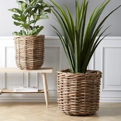 Planteskjulere i natur rattan, 2 stk