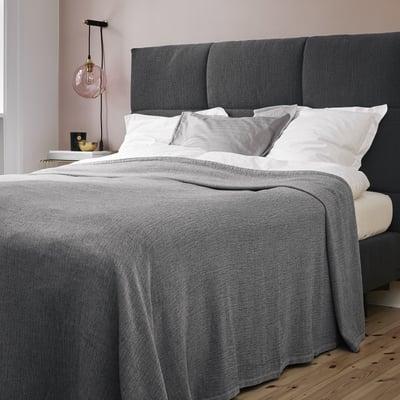 SIMPLE sengetæppe - lys grå