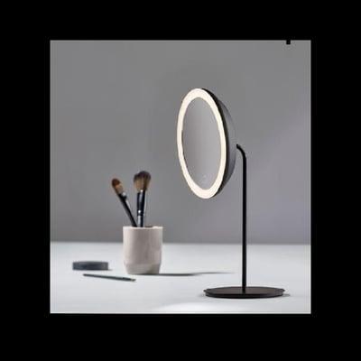 Bordspejl 5 x forstørrelse med lys, sort