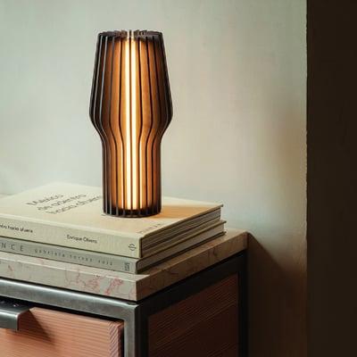 Radiant genopladelig LED lampe, røget eg